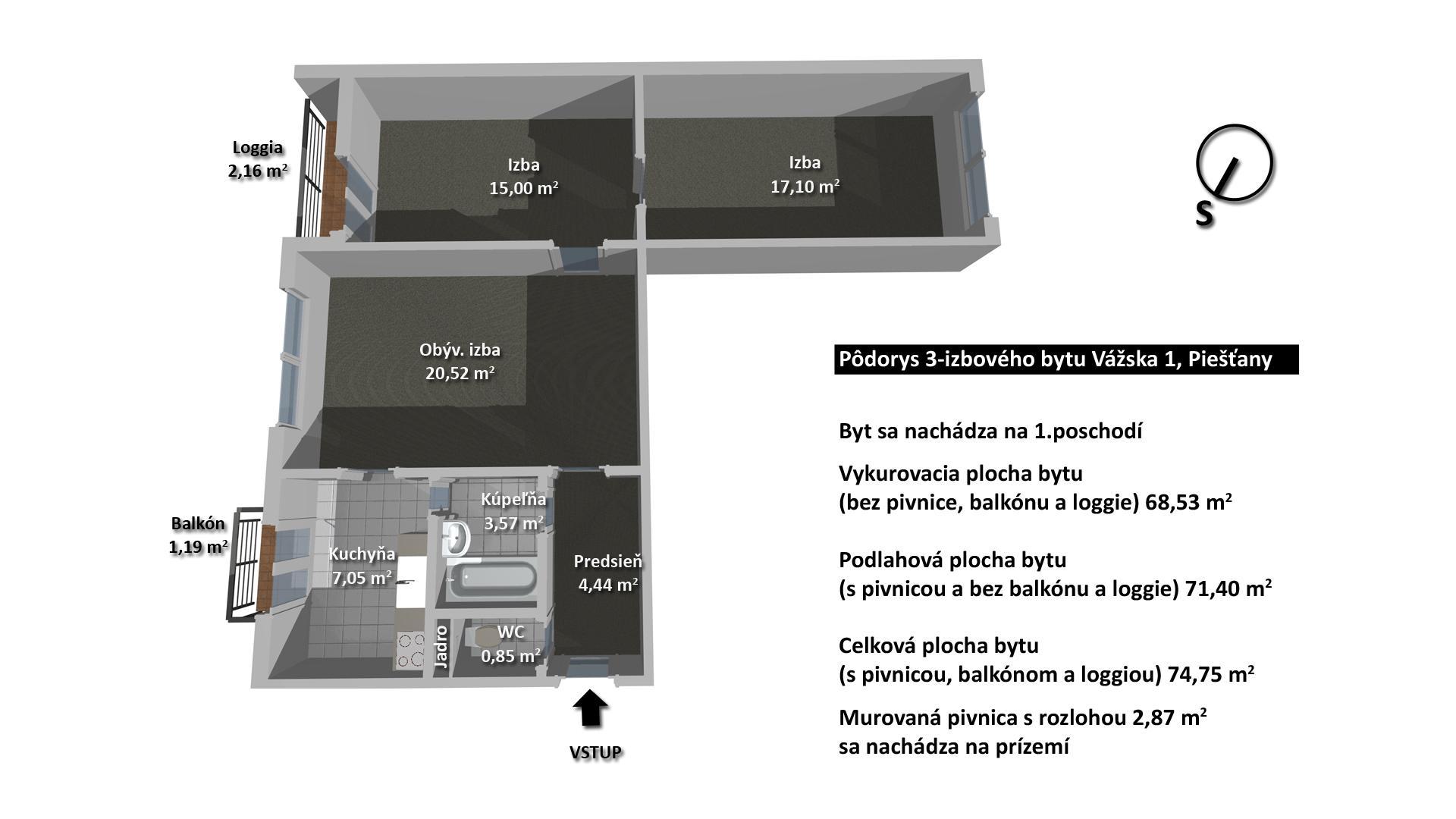 3-izb. byt Piešťany, Vážska 1